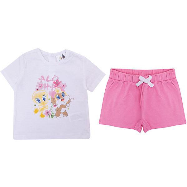 Комплект: футболка,шорты Original Marines для девочкиКомплекты<br>Характеристики товара:<br><br>• цвет: белый/розовый<br>• комплектация: футболка и шорты<br>• состав ткани: 100% хлопок<br>• сезон: лето<br>• особенности модели: спортивный стиль<br>• пояс: резинка, шнурок<br>• кнопки на воротнике<br>• страна бренда: Италия<br>• комфорт и качество<br>• печатный принт<br><br>Яркий комплект из футболки и шорт идеален для активных летних прогулок. Комплект для ребенка сделан из натурального качественного материала. Детский комплект комфортно сидит, не вызывает неудобств. Детская футболка легко надевается и снимается, благодаря тррем кнопкам сзади на воротнике. Шорты дополнены эластичной резинкой и шнурком. А веселый рисунок спереди обязательно порадует вашу малышку. <br><br>Итальянский бренд Original Marines - это стильный продуманный дизайн и неизменно высокое качество исполнения. <br><br>Комплект: футболка и шорты Original Marines (Ориджинал Маринс) для девочки можно купить в нашем интернет-магазине.<br>Ширина мм: 199; Глубина мм: 10; Высота мм: 161; Вес г: 151; Цвет: белый; Возраст от месяцев: 0; Возраст до месяцев: 3; Пол: Женский; Возраст: Детский; Размер: 56/62,86,80,68/74,62/68; SKU: 8382278;