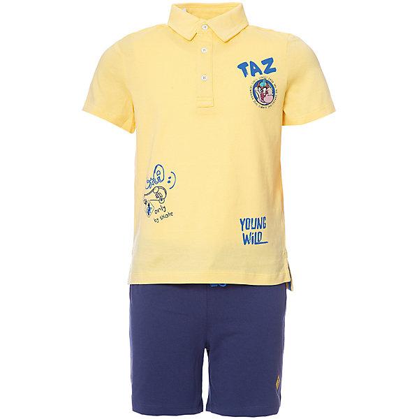 Комплект: футболка-поло,шорты Original Marines для мальчикаКомплекты<br>Характеристики товара:<br><br>• цвет: беж/голубой<br>• комплектация: футболка-поло и шорты<br>• состав ткани: 100% хлопок<br>• сезон: лето<br>• приталенный силуэт<br>• пояс: резинка<br>• страна бренда: Италия<br>• комфорт и качество<br>• печатный принт<br><br>Яркий комплект из футболки в стиле поло и шорт идеален для активных летних прогулок. Комплект для ребенка сделан из натурального качественного материала. Детский комплект комфортно сидит, не вызывает неудобств. Итальянский бренд Original Marines - это стильный продуманный дизайн и неизменно высокое качество исполнения. <br><br>Комплект: футболка-поло и шорты Original Marines (Ориджинал Маринс) для девочки можно купить в нашем интернет-магазине.<br>Ширина мм: 199; Глубина мм: 10; Высота мм: 161; Вес г: 151; Цвет: желтый; Возраст от месяцев: 84; Возраст до месяцев: 96; Пол: Мужской; Возраст: Детский; Размер: 128,152,140; SKU: 8382332;