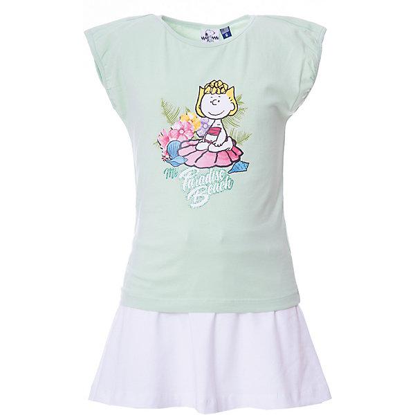 Купить Комплект: футболка, юбка Original Marines для девочки, Бангладеш, зеленый, 92, 116, 104, Женский