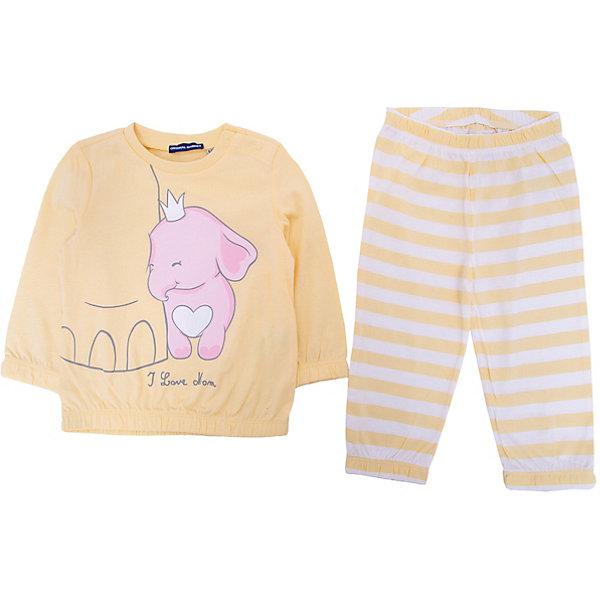 Пижама Original Marines для девочкиПижамы и сорочки<br>Характеристики товара:<br><br>• цвет: розовый;<br>• комплектация: лонгслив, брюки;<br>• состав ткани: 100% хлопок;<br>• сезон: круглый год;<br>• застежка: кнопки;<br>• пояс: резинка;<br>• длинные рукава;<br>• страна бренда: Италия.<br><br>Дышащая детская пижама была разработана европейскими дизайнерами бренда Original Marines специально для девочек. Брюки от пижамы для ребенка не давят на живот - в них комфортная резинка. Такая детская пижама создает комфортные условия на протяжении всей ночи и позволяет коже дышать. <br><br>Пижаму Original Marines (Ориджинал Маринс) для девочки можно купить в нашем интернет-магазине.<br>Ширина мм: 281; Глубина мм: 70; Высота мм: 188; Вес г: 295; Цвет: желтый; Возраст от месяцев: 6; Возраст до месяцев: 9; Пол: Женский; Возраст: Детский; Размер: 68/74,86,80; SKU: 8382624;