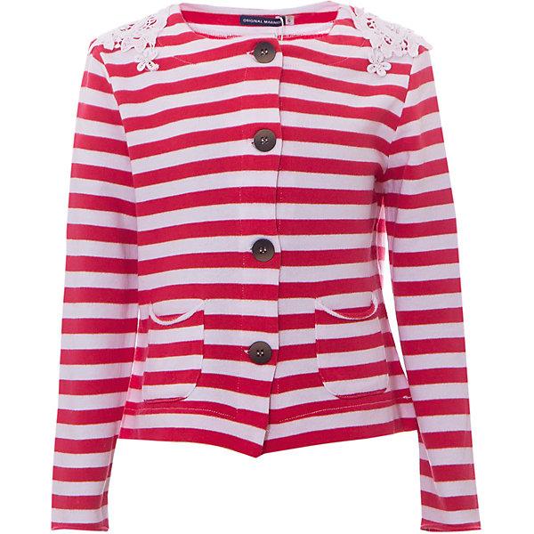 Жакет Original Marines для девочкиВерхняя одежда<br>Характеристики товара:<br><br>• цвет: красно-белая полоска<br>• пол: девочки<br>• состав ткани: 100% хлопок <br>• сезон: лето<br>• длинные рукава<br>• на пуговицах<br>• дизайнерские нашивки на плечах<br>• карманы<br>• страна бренда: Италия<br><br>Симпатичный кардиган для девочки от итальянского бренда Original Marines - качественная вещь, созданная европейскими дизайнерами. Натуральный хлопок в составе изделия делает его дышащим, приятным на ощупь и гипоаллергенным. С таким жакетом можно создать много разных ансамблей - одинаково хорошо будет смотреться и нарядная юбочка и классические джинсы. Украшенная дизайнерскими нашивками на плечах, она обязательно понравится вашей юной  моднице. <br><br>Кардиган Original Marines (Ориджинал Маринс) для девочки можно купить в нашем интернет-магазине.
