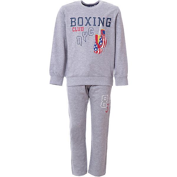 Спортивный костюм Original Marines для мальчикаСпортивная одежда<br>Характеристики товара:<br><br>• цвет: серый<br>• комплектация: толстовка  и брюки<br>• состав ткани: 100% хлопок<br>• длинные рукава<br>• пояс: резинка<br>• особенности модели: спортивный стиль<br>• сезон: круглый год<br>• страна бренда: Италия<br><br>Толстовка и брюки из этого комплекта выполнены из натурального хлопка.  Толстовка дополнена оригинальным принтом. Удобный детский спортивный костюм от известного бренда  Original Marines (Ориджинал Маринс) выглядит аккуратно и стильно. Модный комплект - отличный вариант одежды для отдыха и занятий спортом.<br><br>Для производства детской одежды популярный бренд  Original Marines (Ориджинал Маринс) использует только качественную фурнитуру и материалы. Оригинальные и модные вещи от  Original Marines (Ориджинал Маринс) неизменно привлекают внимание и нравятся детям.<br><br>Спортивный костюм для мальчика Original Marines (Ориджинал Маринс)  можно купить в нашем интернет-магазине.<br>Ширина мм: 247; Глубина мм: 16; Высота мм: 140; Вес г: 225; Цвет: серый; Возраст от месяцев: 84; Возраст до месяцев: 96; Пол: Мужской; Возраст: Детский; Размер: 128,140; SKU: 8383723;