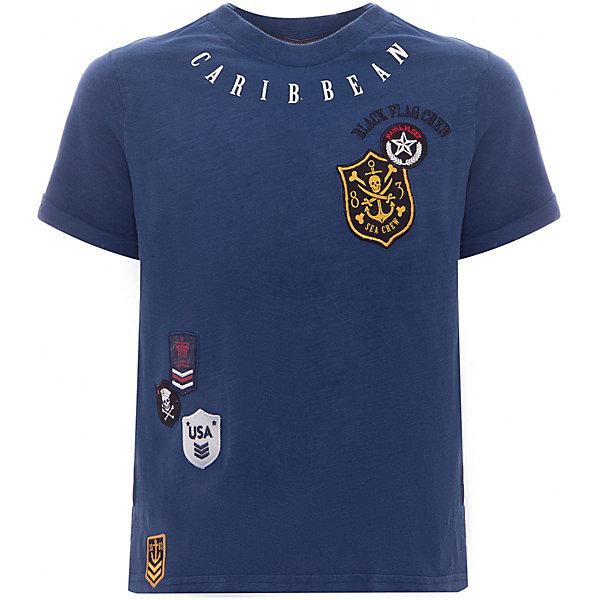 Футболка Original Marines для мальчикаФутболки, поло и топы<br>Характеристики товара:<br><br>• цвет: синий<br>• состав ткани: 100% хлопок <br>• сезон: лето<br>• короткие рукава<br>• принт, нашивки<br>• страна бренда: Италия<br><br>Принтованная футболка для мальчика - это основа для создания множества вариантов стильных нарядов. Детская футболка сделана из приятного на ощупь материала. Украшенная ярким пиратским принтом, она обязательно понравится вашему юному моднику. Футболка для детей от итальянского бренда Original Marines - качественная вещь, созданная европейскими дизайнерами.<br><br>Футболку Original Marines (Ориджинал Маринс) для мальчика можно купить в нашем интернет-магазине.<br>Ширина мм: 199; Глубина мм: 10; Высота мм: 161; Вес г: 151; Цвет: синий; Возраст от месяцев: 18; Возраст до месяцев: 24; Пол: Мужской; Возраст: Детский; Размер: 92,122,116,110,104,98; SKU: 8384305;