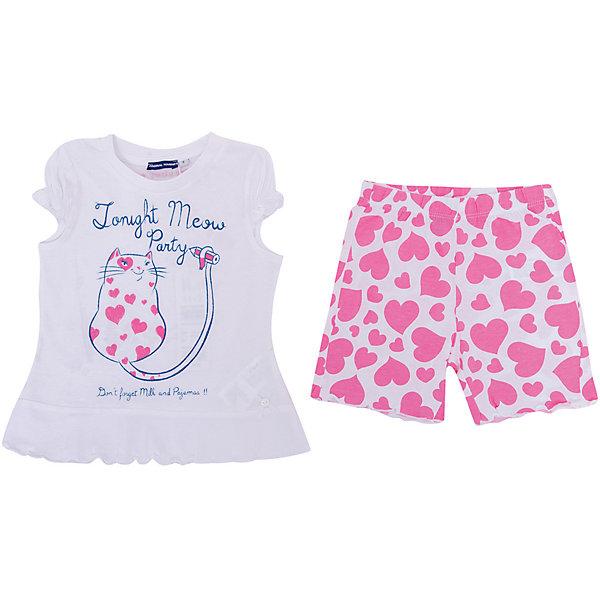 Пижама Original Marines для девочкиПижамы и сорочки<br>Характеристики товара:<br><br>• цвет: белый/розовый;<br>• состав ткани: 100% хлопок;<br>• сезон: круглый год;<br>• в комплекте: футболка и шорты;<br>• шорты на резинке;<br>• футболка с коротким рукавом;<br>• декорирована принтом;<br>• страна бренда: Италия.<br><br>Белье для мальчика должно быть красивым и качественным! Пижама для девочки с оригинальным принтом - прекрасное решение для интересной вечерней сказки, комфортного сна и счастливого пробуждения. Мягкая, нежная, с оригинальным печатным рисунком и интересными деталями, детская пижама от Original Marines (Ориджинал Маринс)  подчеркнет уютную домашнюю атмосферу и создаст отличное настроение.<br><br>Пижаму Original Marines (Ориджинал Маринс)  для девочки можно купить в нашем интернет-магазине.<br>Ширина мм: 281; Глубина мм: 70; Высота мм: 188; Вес г: 295; Цвет: белый; Возраст от месяцев: 18; Возраст до месяцев: 24; Пол: Женский; Возраст: Детский; Размер: 92,116,104; SKU: 8384492;