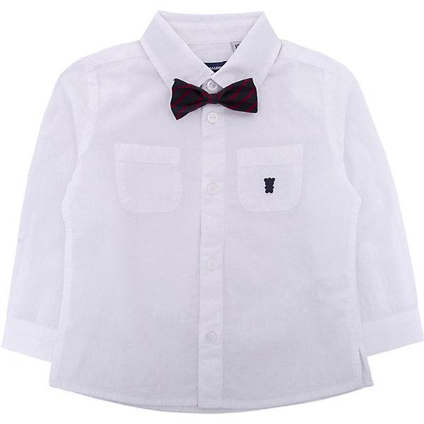 Рубашка Original Marines для мальчикаБлузки и рубашки<br>Характеристики товара:<br><br>• цвет: белый<br>• состав ткани: 100% хлопок<br>• сезон: лето<br>• застежка: пуговицы<br>• короткие рукава<br>• страна бренда: Италия<br>• дополнена бабочкой<br><br>Легкая рубашка с коротким рукавом для мальчика Original Marines удобно сидит по фигуре. Стильная детская рубашка сделана из натуральной хлопковой ткани и дополнена элегантной бабочкой на воротнике. Отличный способ обеспечить ребенку комфорт и аккуратный внешний вид - надеть детскую рубашку от Original Marines. Детская рубашка с коротким рукавом сшита из приятного на ощупь материала, который позволяет коже дышать.<br><br>Рубашку Original Marines (Ориджинал Маринс)  для мальчика можно купить в нашем интернет-магазине.<br>Ширина мм: 174; Глубина мм: 10; Высота мм: 169; Вес г: 157; Цвет: бежевый; Возраст от месяцев: 12; Возраст до месяцев: 15; Пол: Мужской; Возраст: Детский; Размер: 80,68/74,86; SKU: 8384881;