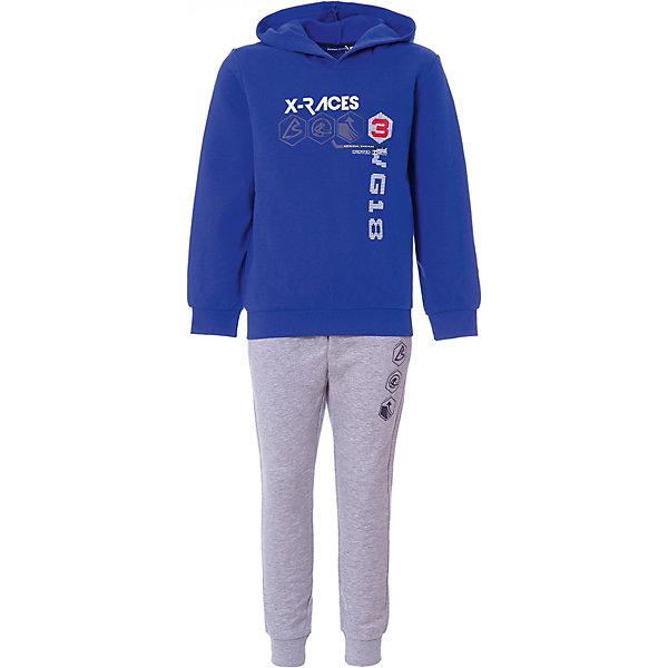 Комплект: пуловер,брюки Original Marines для мальчикаКомплекты<br>Характеристики товара:<br><br>• цвет: синий/серый<br>• комплектация: толстовка  и брюки<br>• состав ткани: 80%Хлопок, 15% Полиэстер, 5% вискоза<br>• длинные рукава<br>• пояс: резинка<br>• особенности модели: спортивный стиль<br>• сезон: круглый год<br>• страна бренда: Италия<br><br>Толстовка и брюки из этого комплекта выполнены из натурального хлопка.  Толстовка дополнена капюшоном и оригинальным принтом. Удобный детский спортивный костюм от известного бренда  Original Marines (Ориджинал Маринс) выглядит аккуратно и стильно. Модный комплект - отличный вариант одежды для отдыха и занятий спортом.<br><br>Для производства детской одежды популярный бренд  Original Marines (Ориджинал Маринс) использует только качественную фурнитуру и материалы. Оригинальные и модные вещи от  Original Marines (Ориджинал Маринс) неизменно привлекают внимание и нравятся детям.<br><br>Комплект: толстовка, брюки для мальчика  Original Marines (Ориджинал Маринс)  можно купить в нашем интернет-магазине.<br>Ширина мм: 190; Глубина мм: 74; Высота мм: 229; Вес г: 236; Цвет: синий; Возраст от месяцев: 84; Возраст до месяцев: 96; Пол: Мужской; Возраст: Детский; Размер: 128,140; SKU: 8384897;