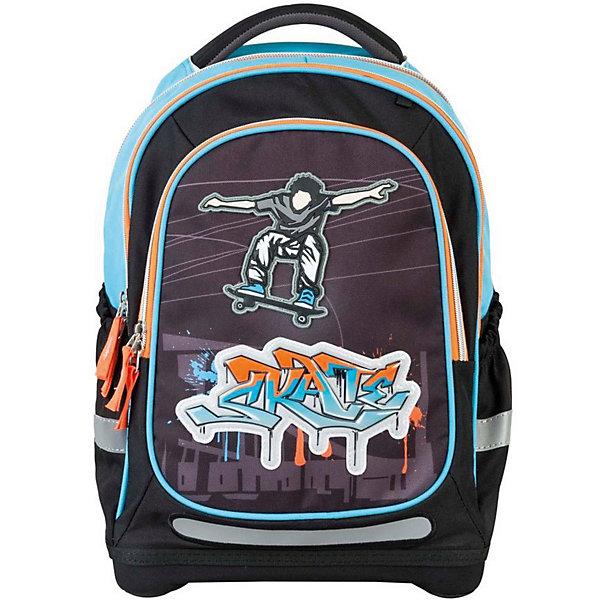 Ранец Target Collection Скейтер без наполненияРанцы<br>Характеристики:<br><br>• возраст от: 6 лет;<br>• цвет: черный/голубой;<br>• материал: полиэстер;<br>• размер: 44х32х18 см.;<br>• объем рюкзака: средний ( 20 -30 л.);<br>• вес рюкзака: 990 гр.;<br>• тип рюкзака: школьный;<br>• ососбенности: ремни вытягиваются под рост ребенка;<br>• спинка: ортопедическая, воздухопроницаемая;<br>• тип застёжки: молния;<br>• количество отделений: 2 отделения;<br>• количество карманов: 3 внешних/1 внутренний;<br>• мягкая ручка в верхней части;<br>• прочное и устойчивое дно;<br>• износостойкая обивка;<br>• регулируемые анатомические лямки;<br>• стильный дизайн;<br>• светоотражающие элементы;<br>• бренд, страна бренда: Target Collection, Словения.<br><br>Рюкзак для школы Скейтер от Target Collection для мальчика - это красивый и удобный ранец, который подойдет всем, кто хочет разнообразить свои школьные будни. Многофункциональный ранец станет незаменимым спутником вашего ребенка в походах за знаниями.  Рюкзак имеет специальную прочную форму, пригодную для учеников начальных классов. <br><br>Супер легкий рюкзак имеет оригинальный дизайн и изготовлен из современных и прочных материалов. Имеет одно большое отделение и объемный карман спереди на молнии. А также фунциональные боковые карманы на резинке. Удобная спинка для позвоночника, которая может быть скорректирована под рост ребенка. Мягкие плечевые ремни имеют вентиляционные отверстия и вытягиваются под рост ребенка. <br><br>Рюкзак который растет вместе с ребенком, это система, которая позволяет увеличить скобки и адаптировать рюкзак по росту ребёнка. Светоотражающие материалы присутствуют на передней, боковой и задней сторонах рюкзака. Это позволяет сделать ваших детей более заметными и обезопасить не только в течение дня, но и ночью.  При правильном использовании, вес распределяется 70% на бедра и 30 % на область плеч и, таким образом уменьшаются усилия, чтобы носить рюкзак. <br><br>Рюкзак для школы Скейтер от Target Collection для 