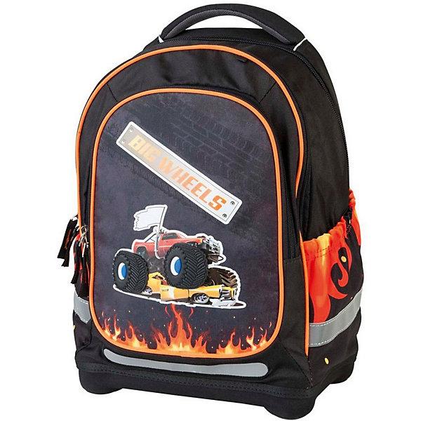 Ранец с наполнением Target Collection Большие колесаРанцы<br>Характеристики:<br><br>• возраст от: 6 лет;<br>• цвет: черный;<br>• материал: полиэстер;<br>• размер: 43х32х18 см.;<br>• объем рюкзака: средний ( 20 -30 л.);<br>• вес рюкзака: 1,5 кг.;<br>• тип рюкзака: школьный;<br>• ососбенности: с наполнением, ремни вытягиваются под рост ребенка;<br>• спинка: ортопедическая, воздухопроницаемая;<br>• тип застёжки: молния;<br>• количество отделений: 2 отделения;<br>• количество карманов: 3 внешних/1 внутренний;<br>• мягкая ручка в верхней части;<br>• прочное и устойчивое дно;<br>• износостойкая обивка;<br>• регулируемые анатомические лямки;<br>• светоотражающие элементы;<br>• страна бренда:  Словения.<br><br>Рюкзак для школы Большие колеса 3 в 1 от Target Collection для мальчика - это красивый и удобный ранец, который подойдет всем, кто хочет разнообразить свои школьные будни. Многофункциональный ранец станет незаменимым спутником вашего ребенка в походах за знаниями.  Рюкзак имеет специальную прочную форму, пригодную для учеников начальных классов. <br><br>Супер легкий рюкзак имеет оригинальный дизайн и изготовлен из современных и прочных материалов. Имеет одно большое отделение и объемный карман спереди на молнии. А также фунциональные боковые карманы на резинке. Удобная для позвоночника спинка, которая может быть отрегулирована под рост ребенка. Мягкие плечевые ремни имеют вентиляционные отверстия и вытягиваются под рост ребенка. <br><br>Система, которая позволяет увеличить скобки и адаптировать рюкзак по росту ребёнка.  Светоотражающие материалы присутствуют на передней, боковой и задней сторонах рюкзака. Это позволяет сделать ваших детей более заметными.Правильно используя ремни, вес портфеля распределяетсяследующим образом: 50% на бедра и 50% на поясничную часть, что ощутимо позволяет уменьшить нагрузку и усилия при ходьбе.<br><br>В комплекте:  ранец, сумка для сменной обуви, пенал с канцтоварами (в наполнение пенала входят: точилка, ластик, три шариковые ручки сине