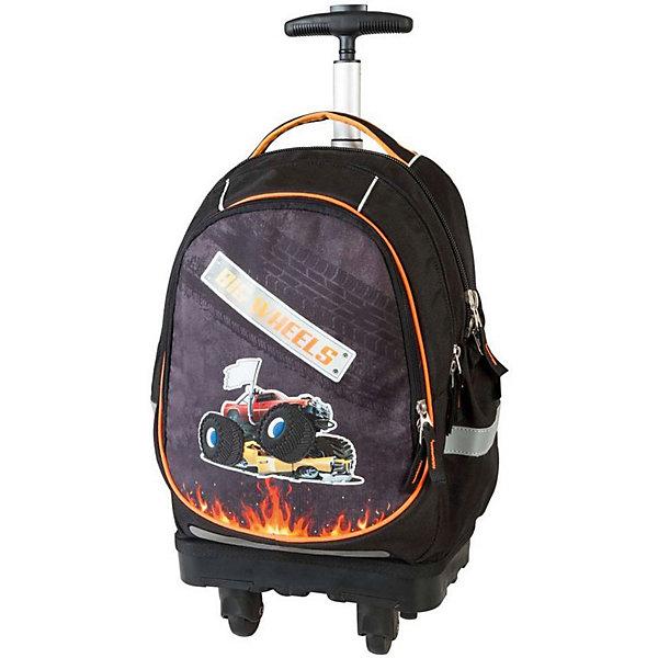 Ранец-тележка Target Collection Большие колесаРанцы<br>Характеристики:<br><br>• возраст от: 6 лет;<br>• цвет: черный;<br>• материал: полиэстер;<br>• размер: 50х28х20 см.;<br>• объем рюкзака: большой ( более 30 л.);<br>• вес рюкзака: 1,9 кг.;<br>• тип рюкзака: тележка;<br>• ососбенности: выдвижная ручка, на поворотных колесах;<br>• спинка: ортопедическая, воздухопроницаемая;<br>• тип застёжки: молния;<br>• количество отделений: 2 основных отделения.;<br>• количество карманов: 2 внешних/ 2 внутренних/ 2 боковых;<br>• эргономичная ручка для переноски;<br>• прочное пластиковое дно;<br>• износостойкая обивка выдержит любую погоду и прослужит не один год;<br>• регулируемые укрепленные лямки;<br>• стильный дизайн;<br>• бренд, страна бренда: Target Collection, Словения.<br><br>Детский рюкзак-тележка Большие колеса от Target Collection выполнен из высококачественного полиэстера. Модель оснащена колёсами, с углом поворота 360 градусов, и телескопической ручкой, которая может быть изъята из рюкзака. Фигурные лямки содержат вентиляционные отверстия и тем самым, имея возможность дышать. Они дополняются специальной ЭКО-пеной, которая делает ношение рюкзака более комфортным для ребёнка. <br><br>Рюкзак содержит 2 больших отделения, закрывающегося на молнию. На лицевой стороне рюкзака расположен большой накладной карман, так же на молнии. Светоотражающий материал присутствует на передней, боковой и задней части рюкзака, что позволяет сделать вашего ребенка более заметным, а так же обезопасить его не только днем, но и ночью. Нижняя часть рюкзака изготовлена из специального материала EVA, который известен своей высокой прочностью. Внизу рюкзака есть вложенные  угловые элементы в количестве 4 штук, которые не позволяют рюкзаку вступать в прямой контакт с полом, асфальтом или любой другой поверхностью, которая может повредить или испачкать дно рюкзака.<br><br>В настоящее время - это самый современный детский рюкзак-тележка в мире. Модель выполнена в ярком сочетании цветов с красивым при
