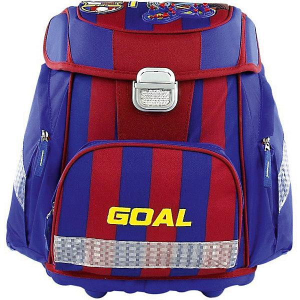 Ранец Target Collection FC Barcelona без наполненияРанцы<br>Характеристики:<br><br>• возраст от: 6 лет;<br>• цвет: синий/красный;<br>• материал: полиэстер;<br>• размер: 39х30х21 см.;<br>• объем рюкзака: средний ( 20-30 л.);<br>• вес рюкзака: 1,2 кг.;<br>• тип рюкзака: школьный;<br>• система «Flexiball» (поясничная поддержка);<br>• спинка: ортопедическая, воздухопроницаемая;<br>• тип застёжки: клапан;<br>• количество отделений: 2 отделения;<br>• количество карманов: 3 внешних/1 внутренний;<br>• мягкая ручка в верхней части;<br>• прочное и устойчивое дно;<br>• износостойкая обивка;<br>• регулируемые анатомические лямки;<br>• стильный дизайн;<br>• светоотражающие элементы;<br>• страна бренда:  Словения.<br><br>Школьный ранец Барселона от Target Collection для мальчика - это красивый и удобный ранец, который подойдет всем, кто хочет разнообразить свои школьные будни. Многофункциональный ранец станет незаменимым спутником вашего ребенка в походах за знаниями. Портфель имеет форму куба, отлично подойдет для учащихся начальных классов, юных любителей футбола - поклонников одноименного футбольного клуба. <br><br>Уникальная система Flexiball - поясничная поддержка, правильно распределяет вес ранца, подстраивается под ребенка, обеспечивает идеальное положение в области поясницы. Плечевые лямки можно регулировать для каждого ребенка индивидуально, содержат вентиляционные отверстия, оснащены ЭКО-пеной. Светоотражающий материал на передней, боковой и задней частях рюкзака. Молнии рюкзака прочные, металлические. При создании данной модели используются улучшенные материалы (3D), которые имеют свойство «дышать». <br><br>Дополнительно, имеется Грудное крепление-стяжка для фиксации на плечах и поясничное крепление позволят снизить нагрузку на позвоночник ребенка. Мягкая ручка в верхней части делает ношение более удобным. Дно портфеля изготовлено из качественного и прочного материала. Внутри вложенные угловые элементы, чтобы не было прямого контакта с грунтом и таким образом, образует