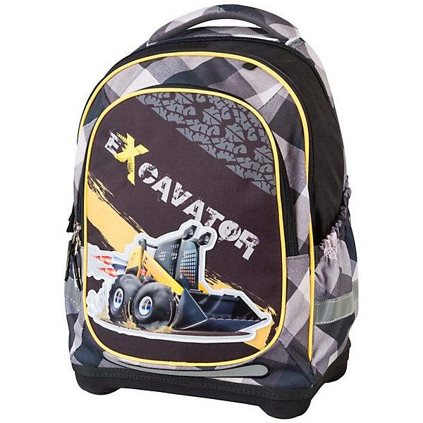 Ранец с наполнением Target Collection Экскаватор 2Ранцы<br>Характеристики:<br><br>• возраст от: 6 лет;<br>• цвет: черный/серый;<br>• материал: полиэстер;<br>• размер: 43х32х18 см.;<br>• объем рюкзака: средний ( 20 -30 л.);<br>• вес рюкзака: 1,5 кг.;<br>• тип рюкзака: школьный;<br>• ососбенности: с наполнением, ремни вытягиваются под рост ребенка;<br>• спинка: ортопедическая, воздухопроницаемая;<br>• тип застёжки: молния;<br>• количество отделений: 2 отделения;<br>• количество карманов: 3 внешних/1 внутренний;<br>• мягкая ручка в верхней части;<br>• прочное и устойчивое дно;<br>• износостойкая обивка;<br>• регулируемые анатомические лямки;<br>• светоотражающие элементы;<br>• страна бренда:  Словения.<br><br>Рюкзак для школы Экскаватор 2 3 в 1 от Target Collection для мальчика подойдет всем, кто хочет разнообразить свои школьные будни. Многофункциональный ранец станет незаменимым спутником вашего ребенка в походах за знаниями.  Рюкзак имеет специальную прочную форму, пригодную для учеников начальных классов. <br><br>Супер легкий рюкзак имеет оригинальный дизайн и изготовлен из современных и прочных материалов. Имеет одно большое отделение и объемный карман спереди на молнии. А также фунциональные боковые карманы на резинке. Удобная для позвоночника спинка, которая может быть отрегулирована под рост ребенка. Мягкие плечевые ремни имеют вентиляционные отверстия и вытягиваются под рост ребенка. <br><br>Система, которая позволяет увеличить скобки и адаптировать рюкзак по росту ребёнка.  Светоотражающие материалы присутствуют на передней, боковой и задней сторонах рюкзака. Это позволяет сделать ваших детей более заметными.Правильно используя ремни, вес портфеля распределяетсяследующим образом: 50% на бедра и 50% на поясничную часть, что ощутимо позволяет уменьшить нагрузку и усилия при ходьбе.<br><br>В комплекте:  ранец, сумка для сменной обуви, пенал с канцтоварами (в наполнение пенала входят: точилка, ластик, три шариковые ручки синего, черного и красного цветов, два гра