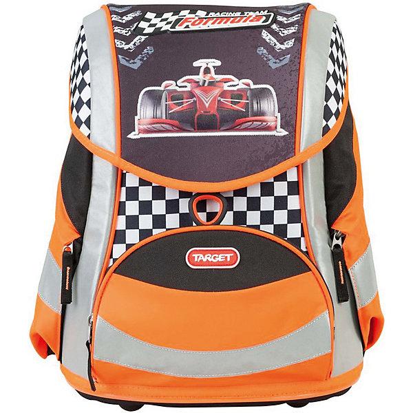 Ранец Target Collection Racing team без наполненияРанцы<br>Характеристики:<br><br>• возраст от: 6 лет;<br>• цвет: черный/оранжевый;<br>• материал: полиэстер;<br>• размер: 38х30х23 см.;<br>• объем рюкзака: средний ( 20 -30 л.);<br>• вес рюкзака: 1,3 кг.;<br>• тип рюкзака: школьный;<br>• ососбенности: система «Flexiball» (поясничная поддержка);<br>• спинка: ортопедическая, воздухопроницаемая;<br>• тип застёжки: клапан;<br>• количество отделений: 2 отделения;<br>• количество карманов: 3 внешних/1 внутренний;<br>• мягкая ручка в верхней части;<br>• прочное и устойчивое дно на пластиковых ножках;<br>• износостойкая обивка;<br>• регулируемые анатомические лямки;<br>• стильный дизайн;<br>• светоотражающие элементы;<br>• бренд, страна бренда: Target Collection, Словения.<br><br>Школьный ранец Racing team от Target Collection для мальчика - это красивый и удобный ранец, который подойдет всем, кто хочет разнообразить свои школьные будни. Многофункциональный ранец станет незаменимым спутником вашего ребенка в походах за знаниями. Отлично подойдет для учащихся начальных классов. <br><br>Рюкзак имеет яркий рисунок и изготовлен из современных материалов. При создании данной модели используются улучшенные материалы (3D), которые имеют свойство «дышать». Он оснащен двумя большими отделениями и одним фронтальным карманом впереди. По бокам имеются у него два кармана на молнии. Ранец имеет форму куба, который закрывается замком-защелкой с системой блокировки «FID». Бегунки на застежках с тканевыми держателями. Светоотражающие элементы, расположенные по всем сторонам ранца, гарантируют видимость во дворе и на улице в темное время суток.<br><br>Школьный ранец Racing team  от Target Collection для мальчика, черный/оранжевый, можно купить в нашем интернет-магазине.<br>Ширина мм: 380; Глубина мм: 300; Высота мм: 230; Вес г: 1300; Цвет: черный; Возраст от месяцев: 72; Возраст до месяцев: 192; Пол: Мужской; Возраст: Детский; SKU: 8392167;