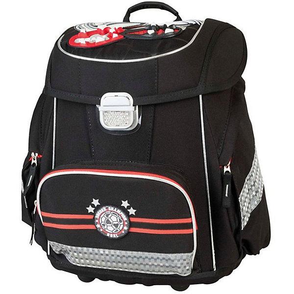Ранец с наполнением Target Collection Чемпион по футболуРанцы<br>Характеристики:<br><br>• возраст от: 6 лет;<br>• цвет: черный/красный;<br>• материал: полиэстер;<br>• размер: 39х30х21 см.;<br>• объем рюкзака: средний ( 20 -30 л.);<br>• вес рюкзака: 2,3 кг.;<br>• тип рюкзака: школьный;<br>•  с наполнением;<br>• система «Flexiball» (поясничная поддержка);<br>• спинка: ортопедическая, воздухопроницаемая;<br>• тип застёжки: клапан;<br>• количество отделений: 2 отделения;<br>• количество карманов: 3 внешних/1 внутренний;<br>• мягкая ручка в верхней части;<br>• прочное и устойчивое дно на ножках;<br>• износостойкая обивка;<br>• регулируемые анатомические лямки;<br>• стильный дизайн;<br>• светоотражающие элементы;<br>• страна бренда:  Словения.<br><br>Школьный ранец Чемпион по футболу 5 в 1 от Target Collection для мальчика - это красивый и удобный ранец, который подойдет всем, кто хочет разнообразить свои школьные будни. Многофункциональный ранец станет незаменимым спутником вашего ребенка в походах за знаниями. Отлично подойдет для учащихся начальных классов, юных любителей футбола! <br><br>Уникальная система Flexiball - поясничная поддержка, правильно распределяет вес ранца, подстраивается под ребенка, обеспечивает идеальное положение в области поясницы. Ранец оснащен вместительным отделением и одним фронтальным карманом на лицевой стороне. Также по бокам имеются два кармана на молниях. <br><br>Ранец имеет форму куба и закрывается на удобный замок со светоотражателем. Бегунки на застежках дополнены удобными тканевыми держателями. Мягкая ручка в верхней части делает ношение более удобным. Прочное и устойчивое дно на пластиковых ножках защитит ранец от загрязнения.<br><br>В комплекте:  ранец, малый рюкзак, сумка для сменной обуви, пенал овальный, пенал с канцтоварами, папка-держатель из ЭКО-пластика формата А4.<br><br>Школьный ранец Чемпион по футболу с наполнением 5 в 1 от Target Collection для мальчика, черный/красный, можно купить в нашем интернет-магазине.<br>Ширина м
