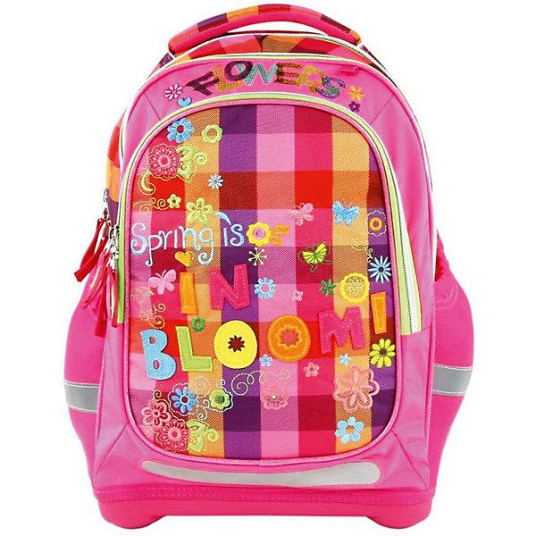 Ранец Target Collection Расцветание без наполненияРанцы<br>Характеристики:<br><br>• возраст от: 6 лет;<br>• цвет: розовый;<br>• материал: полиэстер;<br>• размер: 44х32х18 см.;<br>• объем рюкзака: средний ( 20 -30 л.);<br>• вес рюкзака: 990 гр.;<br>• тип рюкзака: школьный;<br>• ососбенности: ремни вытягиваются под рост ребенка;<br>• спинка: ортопедическая, воздухопроницаемая;<br>• тип застёжки: молния;<br>• количество отделений: 2 отделения;<br>• количество карманов: 3 внешних/1 внутренний;<br>• мягкая ручка в верхней части;<br>• прочное и устойчивое дно;<br>• износостойкая обивка;<br>• регулируемые анатомические лямки;<br>• стильный дизайн;<br>• светоотражающие элементы;<br>• бренд, страна бренда: Target Collection, Словения.<br><br>Рюкзак для школы Расцветание от Target Collection для девочки - это красивый и удобный ранец, который подойдет всем, кто хочет разнообразить свои школьные будни. Многофункциональный ранец станет незаменимым спутником вашего ребенка в походах за знаниями.  Рюкзак имеет специальную прочную форму, пригодную для учеников начальных классов. <br><br>Супер легкий рюкзак имеет оригинальный дизайн и изготовлен из современных и прочных материалов. Имеет одно большое отделение и объемный карман спереди на молнии. А также фунциональные боковые карманы на резинке. Удобная спинка для позвоночника, которая может быть скорректирована под рост ребенка. Мягкие плечевые ремни имеют вентиляционные отверстия и вытягиваются под рост ребенка. Рюкзак который растет вместе с ребенком, это система, которая позволяет увеличить скобки и адаптировать рюкзак по росту ребёнка. <br><br>Светоотражающие материалы присутствуют на передней, боковой и задней сторонах рюкзака. Это позволяет сделать ваших детей более заметными и обезопасить не только в течение дня, но и ночью.  При правильном использовании, вес распределяется 70% на бедра и 30 % на область плеч и, таким образом уменьшаются усилия, чтобы носить рюкзак. <br><br>Рюкзак для школы Расцветание от Target Collection 