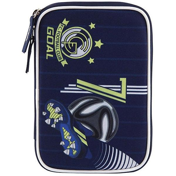 Пенал с наполнением Target Collection FC Real MadridПеналы с наполнением<br>Характеристики:<br><br>• возраст от: 6 лет;<br>• цвет: синий;<br>• материал: полиэстер;<br>• вес: 330 гр;<br>• размер пенала: 22х16х4 см.;<br>• особенности: с наполнением;<br>• 1 отделение на молнии;<br>• 2 откидные створки;<br>• тип застёжки: молния;<br>• количество предметов: 33;<br>• стильный дизайн;<br>• бренд, страна бренда: Target Collection, Словения.<br><br>Пенал с канцтоварами Реал Мадрид от Target Collection для мальчика на 33 предмета. Изготовлен из качественного полиэстера. Он очень вместительный и с ярким дизайном. Пенал имеет одно отделение на молнии. Внутри его есть потайной карман для мелочей и откидная плотная створка-разделитель. Бегунки на застежках дополнены удобными тканевыми держателями. <br><br>В наполнение пенала входит: 3 шариковых ручки, 2 черно-графитных карандаша, 12 цветных карандашей бренда FILA (Италия), 12 фломастеров бренда FILA (Италия), ластик, точилка, клей и ножницы. Такой пенал станет незаменимым помощником для школьника, с ним ручки и карандаши всегда будут под рукой и больше не потеряются. <br><br>Пенал с канцтоварами 33 предмета Реал Мадрид от Target Collection для мальчика, синий, можно купить в нашем интернет-магазине.<br>Ширина мм: 220; Глубина мм: 160; Высота мм: 40; Вес г: 330; Цвет: синий; Возраст от месяцев: 72; Возраст до месяцев: 192; Пол: Мужской; Возраст: Детский; SKU: 8392259;