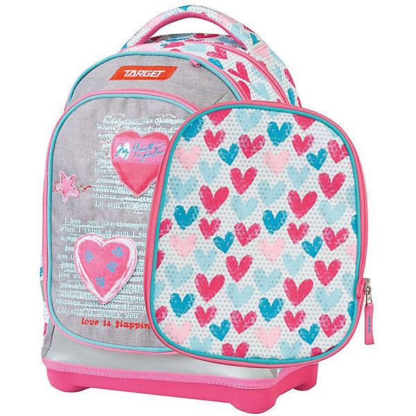 Рюкзак школьный Target Collection Jersey LoveРюкзаки<br>Характеристики:<br><br>• возраст от: 6 лет;<br>• цвет: серый/розовый;<br>• материал: полиэстер;<br>• размер: 45х34х21 см.;<br>• объем рюкзака: средний ( 20 -30 л.);<br>• вес рюкзака: 1 кг.;<br>• тип рюкзака: школьный;<br>• ососбенности: два рисунка для передней части, система «Flexiball» (поясничная поддержка);<br>• спинка: ортопедическая, воздухопроницаемая;<br>• тип застёжки: клапан;<br>• количество отделений: 2 отделения;<br>• количество карманов: 3 внешних/1 внутренний;<br>• мягкая ручка в верхней части;<br>• прочное и устойчивое дно на пластиковых ножках;<br>• износостойкая обивка;<br>• регулируемые анатомические лямки;<br>• стильный дизайн;<br>• светоотражающие элементы;<br>• бренд, страна бренда: Target Collection, Словения.<br><br>Школьный ранец JERSEY LOVE от Target Collection для девочки - это красивый и удобный ранец, который подойдет всем, кто хочет разнообразить свои школьные будни. Многофункциональный ранец станет незаменимым спутником вашего ребенка в походах за знаниями. Отлично подойдет для учащихся начальных классов. <br><br>Супер легкий рюкзак имеет яркий рисунок и изготовлен из современных материалов. При создании данной модели используются улучшенные материалы (3D), которые имеют свойство «дышать». Он оснащен двумя большими отделениями на молнии. Передняя часть рюкзака съемная и может быть изменена на другой рисунок, который входит в комплект. Так же по бокам имеются у него два кармана на резинке. Бегунки на застежках с удобными тканевыми держателями. Плечевые лямки и спинка содержат вентиляционные отверстия и дополнительно оснащены ЭКО-пеной. Светоотражающие элементы, расположенные по всем сторонам ранца, гарантируют видимость во дворе и на улице в темное время суток.<br><br>Школьный ранец JERSEY LOVE  от Target Collection для девочки, серый/розовый, можно купить в нашем интернет-магазине.<br>Ширина мм: 450; Глубина мм: 340; Высота мм: 210; Вес г: 1000; Цвет: розовый; Возраст от месяцев: 7