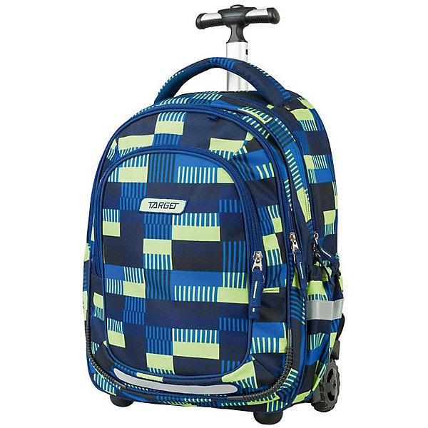 Рюкзак-тележка школьный Target Collection AlloverРанцы<br>Характеристики:<br><br>• возраст от: 6 лет;<br>• цвет: синий/принт;<br>• материал: полиэстер;<br>• размер: 50х32х20 см.;<br>• объем рюкзака: большой ( более 30 л.);<br>• вес рюкзака: 1,9 кг.;<br>• тип рюкзака: тележка;<br>• наполнение: органайзер для принадлежностей;<br>• ососбенности: выдвижная ручка, на колесах, на ножках;<br>• спинка: воздухопроницаемая;<br>• тип застёжки: молния;<br>• количество отделений: 2 основных отделения.;<br>• количество карманов: 2 внешних/ 2 внутренних/ 2 боковых;<br>• эргономичная ручка для переноски;<br>• прочное пластиковое дно;<br>• износостойкая обивка выдержит любую погоду и прослужит не один год;<br>• регулируемые укрепленные лямки;<br>• стильный дизайн;<br>• бренд, страна бренда: Target Collection, Словения.<br><br>Детский рюкзак-тележка ALLOVER от Target Collection выполнен из высококачественного полиэстера. Модель оснащена двумя колесами и ножками, а также телескопической ручкой, которая может быть изъята из рюкзака. Фигурные лямки содержат вентиляционные отверстия и тем самым, имея возможность дышать. Они дополняются специальной ЭКО-пеной, которая делает ношение рюкзака более комфортным для ребенка. Рюкзак содержит 2 больших отделения, закрывающегося на молнию. На лицевой стороне рюкзака расположен большой накладной карман, так же на молнии. Боковые карманы на резинке удобно использовать для бутылок. Светоотражающий материал присутствует на передней, боковой и задней части рюкзака, что позволяет сделать вашего ребенка более заметным, а так же обезопасить его не только днем, но и ночью. <br><br>В настоящее время - это самый современный рюкзак-тележка в мире. Модель выполнена в ярком синем цвете с оригинальным принтом, рюкзак-тележка станет надежным, практичным и функциональным спутником во время путешествий. Также вместительный рюкзак-тележка подойдет для школы и спортивных секций.<br><br>Детский рюкзак-тележку ALLOVER  от Target Collection, синий/принт, можно купить в 