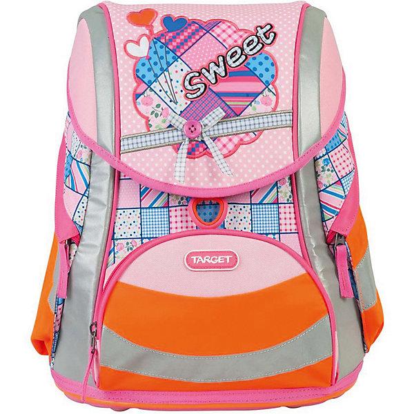 Ранец Target Collection Sweet bow без наполненияРанцы<br>Характеристики:<br><br>• возраст от: 6 лет;<br>• цвет: оранжевый/розовый;<br>• материал: полиэстер;<br>• размер: 38х30х23 см.;<br>• объем рюкзака: средний ( 20 -30 л.);<br>• вес рюкзака: 1,3 кг.;<br>• тип рюкзака: школьный;<br>• ососбенности: система «Flexiball» (поясничная поддержка);<br>• спинка: ортопедическая, воздухопроницаемая;<br>• тип застёжки: клапан;<br>• количество отделений: 2 отделения;<br>• количество карманов: 3 внешних/1 внутренний;<br>• мягкая ручка в верхней части;<br>• прочное и устойчивое дно на пластиковых ножках;<br>• износостойкая обивка;<br>• регулируемые анатомические лямки;<br>• стильный дизайн;<br>• светоотражающие элементы;<br>• бренд, страна бренда: Target Collection, Словения.<br><br>Школьный ранец Sweet bow от Target Collection для девочки - это красивый и удобный ранец, который подойдет всем, кто хочет разнообразить свои школьные будни. Многофункциональный ранец станет незаменимым спутником вашего ребенка в походах за знаниями. Отлично подойдет для учащихся начальных классов. <br><br>Рюкзак имеет яркий рисунок и изготовлен из современных материалов. При создании данной модели используются улучшенные материалы (3D), которые имеют свойство «дышать». Он оснащен двумя большими отделениями и одним фронтальным карманом впереди. По бокам имеются у него два кармана на молнии. Ранец имеет форму куба, который закрывается замком-защелкой с системой блокировки «FID». Бегунки на застежках с тканевыми держателями. Светоотражающие элементы, расположенные по всем сторонам ранца, гарантируют видимость во дворе и на улице в темное время суток.<br><br>Школьный ранец Sweet bow  от Target Collection для девочки, оранжевый/розовый, можно купить в нашем интернет-магазине.<br>Ширина мм: 380; Глубина мм: 300; Высота мм: 230; Вес г: 1300; Цвет: розовый/розовый; Возраст от месяцев: 72; Возраст до месяцев: 192; Пол: Женский; Возраст: Детский; SKU: 8392321;