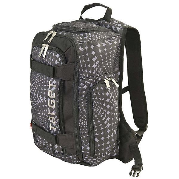 """Рюкзак Target Collection Black/GreyРюкзаки<br>Характеристики:<br><br>• возраст от: 6 лет;<br>• цвет: черный;<br>• материал: полиэстер;<br>• размер: 45х35х20 см.;<br>• объем рюкзака: большой (30 л.);<br>• вес рюкзака: 1 кг.;<br>• тип рюкзака: универсальный;<br>• отделение для ноутбука;<br>• карман с сеткой;<br>• спинка: жесткая;<br>• тип застёжки: молния;<br>• количество отделений: 1 отделение;<br>• количество карманов: 4 внешних;<br>• плотная ручка в верхней части;<br>• усиленное дно;<br>• износостойкая обивка;<br>• регулируемые анатомические лямки;<br>• стильный дизайн;<br>• бренд, страна бренда: Target Collection, Словения.<br><br>Городской рюкзак BLACK/GREY от Target Collection создан для того, чтобы обеспечить активный и современный образ жизни. Его по настоящему оценят любители активных видов спорта. Главное отличие – наличие ремней для крепления скейтборда. Застегивается на молнию. Рюкзак имеет одно большое основное отделение вмещаемое ноутбук до 15"""", передний карман, карман для бутылки воды, верхняя ручка для переноски, отверстие для наушников, застегивается на молнию, несколько внутренних карманов. <br><br>Рюкзак подходит для путешествий, а также для занятий спортом и проведения досуга. Рюкзак выполнен из высококачественного и водонепроницаемого материала. Данная модель выполнена в черном цвете, имеет прекрасную эргономику и инновационный стильный дизайн.<br><br>Городской рюкзак BLACK/GREY от Target Collection, синий, можно купить в нашем интернет-магазине.<br>Ширина мм: 450; Глубина мм: 350; Высота мм: 200; Вес г: 1000; Цвет: черный; Возраст от месяцев: 72; Возраст до месяцев: 192; Пол: Унисекс; Возраст: Детский; SKU: 8392327;"""