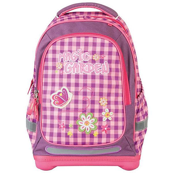 Ранец Target Collection Волшебный сад без наполненияРанцы<br>Характеристики:<br><br>• возраст от: 6 лет;<br>• цвет: розовый;<br>• материал: полиэстер;<br>• размер: 44х32х18 см.;<br>• объем рюкзака: средний ( 20 -30 л.);<br>• вес рюкзака: 990 гр.;<br>• тип рюкзака: школьный;<br>• ососбенности: ремни вытягиваются под рост ребенка;<br>• спинка: ортопедическая, воздухопроницаемая;<br>• тип застёжки: молния;<br>• количество отделений: 2 отделения;<br>• количество карманов: 3 внешних/1 внутренний;<br>• мягкая ручка в верхней части;<br>• прочное и устойчивое дно;<br>• износостойкая обивка;<br>• регулируемые анатомические лямки;<br>• стильный дизайн;<br>• светоотражающие элементы;<br>• бренд, страна бренда: Target Collection, Словения.<br><br>Рюкзак для школы Волшебный сад от Target Collection для девочки - это красивый и удобный ранец, который подойдет всем, кто хочет разнообразить свои школьные будни. Многофункциональный ранец станет незаменимым спутником вашего ребенка в походах за знаниями.  Рюкзак имеет специальную прочную форму, пригодную для учеников начальных классов. <br><br>Супер легкий рюкзак имеет оригинальный дизайн и изготовлен из современных и прочных материалов. Имеет одно большое отделение и объемный карман спереди на молнии. А также фунциональные боковые карманы на резинке. Удобная спинка для позвоночника, которая может быть скорректирована под рост ребенка. Мягкие плечевые ремни имеют вентиляционные отверстия и вытягиваются под рост ребенка. <br><br>Рюкзак который растет вместе с ребенком, это система, которая позволяет увеличить скобки и адаптировать рюкзак по росту ребёнка. Светоотражающие материалы присутствуют на передней, боковой и задней сторонах рюкзака. Это позволяет сделать ваших детей более заметными и обезопасить не только в течение дня, но и ночью.  При правильном использовании, вес распределяется 70% на бедра и 30 % на область плеч и, таким образом уменьшаются усилия, чтобы носить рюкзак. <br><br>Рюкзак для школы Волшебный сад от Target Colle