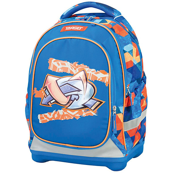Рюкзак школьный Target Collection MuralesРюкзаки<br>Характеристики:<br><br>• возраст от: 6 лет;<br>• цвет: синий/оранжевый;<br>• материал: полиэстер;<br>• размер: 45х34х21 см.;<br>• объем рюкзака: средний ( 20 -30 л.);<br>• вес рюкзака: 1 кг.;<br>• тип рюкзака: школьный;<br>• ососбенности: два рисунка для передней части, система «Flexiball» (поясничная поддержка);<br>• спинка: ортопедическая, воздухопроницаемая;<br>• тип застёжки: клапан;<br>• количество отделений: 2 отделения;<br>• количество карманов: 3 внешних/1 внутренний;<br>• мягкая ручка в верхней части;<br>• прочное и устойчивое дно на пластиковых ножках;<br>• износостойкая обивка;<br>• регулируемые анатомические лямки;<br>• стильный дизайн;<br>• светоотражающие элементы;<br>• бренд, страна бренда: Target Collection, Словения.<br><br>Школьный ранец Murales от Target Collection для мальчика - это красивый и удобный ранец, который подойдет всем, кто хочет разнообразить свои школьные будни. Многофункциональный ранец станет незаменимым спутником вашего ребенка в походах за знаниями. Отлично подойдет для учащихся начальных классов. <br><br>Супер легкий рюкзак имеет яркий рисунок и изготовлен из современных материалов. При создании данной модели используются улучшенные материалы (3D), которые имеют свойство «дышать». Он оснащен двумя большими отделениями на молнии. Передняя часть рюкзака съемная и может быть изменена на другой рисунок, который входит в комплект. Так же по бокам имеются у него два кармана на резинке. Бегунки на застежках с удобными тканевыми держателями. Плечевые лямки и спинка содержат вентиляционные отверстия и дополнительно оснащены ЭКО-пеной. Светоотражающие элементы, расположенные по всем сторонам ранца, гарантируют видимость во дворе и на улице в темное время суток.<br><br>Школьный ранец Murales  от Target Collection для мальчика, синий/оранжевый, можно купить в нашем интернет-магазине.<br>Ширина мм: 450; Глубина мм: 340; Высота мм: 210; Вес г: 1000; Цвет: голубой; Возраст от месяцев: 72; Воз
