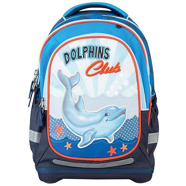 Ранец Target Collection Дельфин без наполненияРанцы<br>Характеристики:<br><br>• возраст от: 6 лет;<br>• цвет: синий/голубой;<br>• материал: полиэстер;<br>• размер: 44х32х18 см.;<br>• объем рюкзака: средний ( 20 -30 л.);<br>• вес рюкзака: 990 гр.;<br>• тип рюкзака: школьный;<br>• ососбенности: ремни вытягиваются под рост ребенка;<br>• спинка: ортопедическая, воздухопроницаемая;<br>• тип застёжки: молния;<br>• количество отделений: 2 отделения;<br>• количество карманов: 3 внешних/1 внутренний;<br>• мягкая ручка в верхней части;<br>• прочное и устойчивое дно;<br>• износостойкая обивка;<br>• регулируемые анатомические лямки;<br>• стильный дизайн;<br>• светоотражающие элементы;<br>• бренд, страна бренда: Target Collection, Словения.<br><br>Рюкзак для школы Дельфин от Target Collection для мальчика - это красивый и удобный ранец, который подойдет всем, кто хочет разнообразить свои школьные будни. Многофункциональный ранец станет незаменимым спутником вашего ребенка в походах за знаниями.  Рюкзак имеет специальную прочную форму, пригодную для учеников начальных классов. <br><br>Супер легкий рюкзак имеет оригинальный дизайн и изготовлен из современных и прочных материалов. Имеет одно большое отделение и объемный карман спереди на молнии. А также фунциональные боковые карманы на резинке. Удобная спинка для позвоночника, которая может быть скорректирована под рост ребенка. Мягкие плечевые ремни имеют вентиляционные отверстия и вытягиваются под рост ребенка. Рюкзак который растет вместе с ребенком, это система, которая позволяет увеличить скобки и адаптировать рюкзак по росту ребёнка. <br><br>Светоотражающие материалы присутствуют на передней, боковой и задней сторонах рюкзака. Это позволяет сделать ваших детей более заметными и обезопасить не только в течение дня, но и ночью.  При правильном использовании, вес распределяется 70% на бедра и 30 % на область плеч и, таким образом уменьшаются усилия, чтобы носить рюкзак. <br><br>Рюкзак для школы Дельфин от Target Collection для м