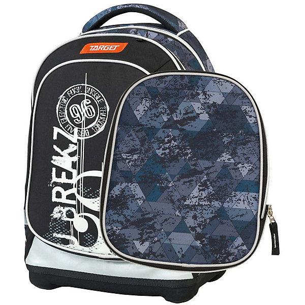 Рюкзак школьный Target Collection BreakРюкзаки<br>Характеристики:<br><br>• возраст от: 6 лет;<br>• цвет: черный;<br>• материал: полиэстер;<br>• размер: 45х34х21 см.;<br>• объем рюкзака: средний ( 20 -30 л.);<br>• вес рюкзака: 1 кг.;<br>• тип рюкзака: школьный;<br>• ососбенности: два рисунка для передней части, система «Flexiball» (поясничная поддержка);<br>• спинка: ортопедическая, воздухопроницаемая;<br>• тип застёжки: клапан;<br>• количество отделений: 2 отделения;<br>• количество карманов: 3 внешних/1 внутренний;<br>• мягкая ручка в верхней части;<br>• прочное и устойчивое дно на пластиковых ножках;<br>• износостойкая обивка;<br>• регулируемые анатомические лямки;<br>• стильный дизайн;<br>• светоотражающие элементы;<br>• бренд, страна бренда: Target Collection, Словения.<br><br>Школьный ранец Break от Target Collection для мальчика - это красивый и удобный ранец, который подойдет всем, кто хочет разнообразить свои школьные будни. Многофункциональный ранец станет незаменимым спутником вашего ребенка в походах за знаниями. Отлично подойдет для учащихся начальных классов. <br><br>Супер легкий рюкзак имеет яркий рисунок и изготовлен из современных материалов. При создании данной модели используются улучшенные материалы (3D), которые имеют свойство «дышать». Он оснащен двумя большими отделениями на молнии. Передняя часть рюкзака съемная и может быть изменена на другой рисунок, который входит в комплект. Так же по бокам имеются у него два кармана на резинке. Бегунки на застежках с удобными тканевыми держателями. Плечевые лямки и спинка содержат вентиляционные отверстия и дополнительно оснащены ЭКО-пеной. Светоотражающие элементы, расположенные по всем сторонам ранца, гарантируют видимость во дворе и на улице в темное время суток.<br><br>Школьный ранец Break  от Target Collection для мальчика, черный, можно купить в нашем интернет-магазине.<br>Ширина мм: 450; Глубина мм: 340; Высота мм: 210; Вес г: 1000; Цвет: черный; Возраст от месяцев: 72; Возраст до месяцев: 192; Пол