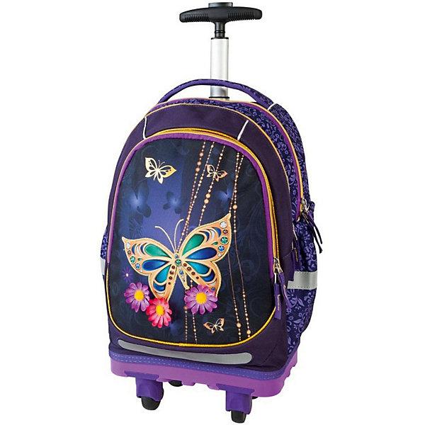 Ранец-тележка Target Collection Золотая бабочка 2Ранцы<br>Характеристики:<br><br>• возраст от: 6 лет;<br>• цвет: фиолетовый;<br>• материал: полиэстер;<br>• размер: 50х28х20 см.;<br>• объем рюкзака: большой ( более 30 л.);<br>• вес рюкзака: 1,9 кг.;<br>• тип рюкзака: тележка;<br>• ососбенности: выдвижная ручка, на поворотных колесах;<br>• спинка: ортопедическая, воздухопроницаемая;<br>• тип застёжки: молния;<br>• количество отделений: 2 основных отделения.;<br>• количество карманов: 2 внешних/ 2 внутренних/ 2 боковых;<br>• эргономичная ручка для переноски;<br>• прочное пластиковое дно;<br>• износостойкая обивка выдержит любую погоду и прослужит не один год;<br>• регулируемые укрепленные лямки;<br>• стильный дизайн;<br>• бренд, страна бренда: Target Collection, Словения.<br><br>Детский рюкзак-тележка Золотая бабочка 2 от Target Collection выполнен из высококачественного полиэстера. Модель оснащена колёсами, с углом поворота 360 градусов, и телескопической ручкой, которая может быть изъята из рюкзака. Фигурные лямки содержат вентиляционные отверстия и тем самым, имея возможность дышать. Они дополняются специальной ЭКО-пеной, которая делает ношение рюкзака более комфортным для ребёнка. Рюкзак содержит 2 больших отделения, закрывающегося на молнию. На лицевой стороне рюкзака расположен большой накладной карман, так же на молнии. <br><br>Светоотражающий материал присутствует на передней, боковой и задней части рюкзака, что позволяет сделать вашего ребенка более заметным, а так же обезопасить его не только днем, но и ночью. Нижняя часть рюкзака изготовлена из специального материала EVA, который известен своей высокой прочностью. Внизу рюкзака есть вложенные  угловые элементы в количестве 4 штук, которые не позволяют рюкзаку вступать в прямой контакт с полом, асфальтом или любой другой поверхностью, которая может повредить или испачкать дно рюкзака.<br><br>В настоящее время - это самый современный детский рюкзак-тележка в мире. Модель выполнена в ярком сочетании цветов с кр
