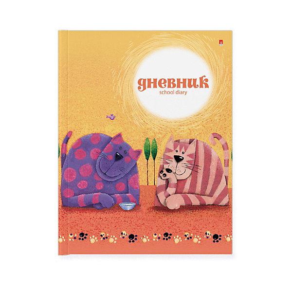 Школьный дневник для младших классов Альт «Котики», 40 листовДневники<br>Характеристики:<br><br>• возраст: от 6 лет;<br>• количество листов: 40;<br>• формат: А5 (17х21,7 см);<br>• разметка: в линейку;<br>• обложка: интегральная (картонная);<br>• размер упаковки: 22х17х5 см;<br>• вес: 128 гр;<br>• страна бренда: Россия.<br><br>Школьный дневник для младших классов с интегральной обложкой Альт «Котики» имеет сшитый внутренний блок, состоящий из 80 страниц сделанных из первосортного белого офсета. Качественный плотный картон обладает повышенным сроком службы и не дает страницам помяться, обложка дополнена яркой расцветкой.<br><br>С помощью значков погоды (находятся рядом с каждым днем недели) позволит следить за изменениями в окружающем мире. <br> На внутреннем развороте обложки  находится поле с графами для личных данных школьника, а на последней вносятся названия предметов. <br><br>Школьный дневник для младших классов Альт «Котики», 40 листов можно купить в нашем интернет-магазине.<br>Ширина мм: 220; Глубина мм: 170; Высота мм: 5; Вес г: 128; Цвет: разноцветный; Возраст от месяцев: 72; Возраст до месяцев: 2147483647; Пол: Унисекс; Возраст: Детский; SKU: 8393425;