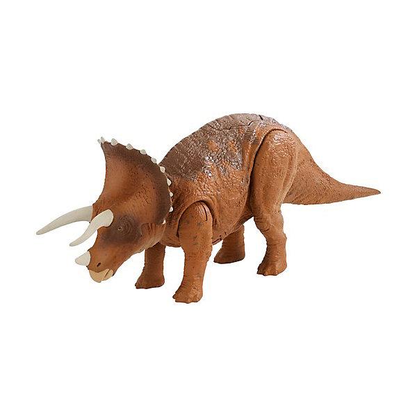 Фигурка Jurassic World Динозавры Трицератопс, со звуковыми эффектамиИгровые фигурки животных<br>Характеристики:<br><br>• возраст: от 3 лет;<br>• материал: пластик;<br>• звук: да;<br>• вес упаковки: 417 гр.;<br>• размер упаковки: 18х26,5х7 см;<br>• страна бренда: США.<br><br>Фигурка Mattel Jurassic World из серии «Динозавры» выглядит в точности как трицератопс из фильма «Мир юрского периода 2». Фигурка имеет характерный окрас и кожный покров, рельеф на поверхности тела детализирован.<br><br>У игрушки максимально подвижные конечности за счет шарнирных соединений. Кроме того, при нажатии на особую кнопку на спине динозавра издаются звуки рычания и рева. Фигурка может самостоятельно стоять на ровной поверхности. Сделано из прочного качественного пластика.<br><br>Фигурку Jurassic World «Динозавры» Трицератопс, со звуковыми эффектами можно купить в нашем интернет-магазине.<br>Ширина мм: 70; Глубина мм: 180; Высота мм: 267; Вес г: 350; Возраст от месяцев: 48; Возраст до месяцев: 2147483647; Пол: Мужской; Возраст: Детский; SKU: 8395611;