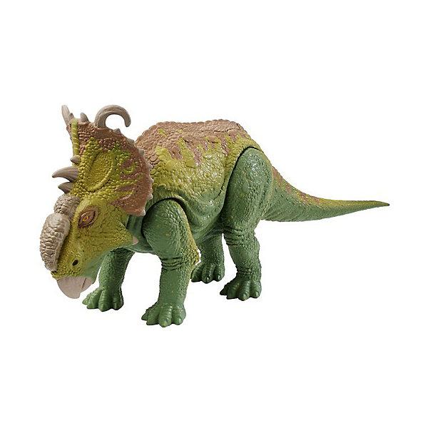 Mattel Фигурка Jurassic World Динозавры Трицератопс зелёный, со звуковыми эффектами футболка print bar трицератопс