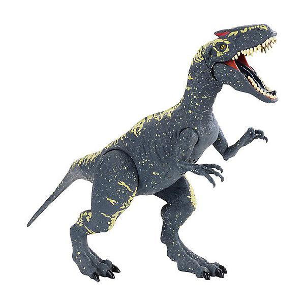 Фигурка Jurassic World Динозавры Аллозавр, со звуковыми эффектамиИгровые фигурки животных<br>Характеристики:<br><br>• возраст: от 3 лет;<br>• материал: пластик;<br>• звук: да;<br>• вес упаковки: 417 гр.;<br>• размер упаковки: 18х26,5х7 см;<br>• страна бренда: США.<br><br>Фигурка Mattel Jurassic World из серии «Динозавры» выглядит в точности как аллозавр из фильма «Мир юрского периода 2». Фигурка имеет характерный окрас и кожный покров, рельеф на поверхности тела детализирован.<br><br>У игрушки максимально подвижные конечности за счет шарнирных соединений. Кроме того, при нажатии на особую кнопку на спине динозавра издаются звуки рычания и рева. Фигурка может самостоятельно стоять на ровной поверхности. Сделано из прочного качественного пластика.<br><br>Фигурку Jurassic World «Динозавры» Аллозавр, со звуковыми эффектами можно купить в нашем интернет-магазине.<br>Ширина мм: 70; Глубина мм: 180; Высота мм: 267; Вес г: 350; Возраст от месяцев: 48; Возраст до месяцев: 2147483647; Пол: Мужской; Возраст: Детский; SKU: 8395655;
