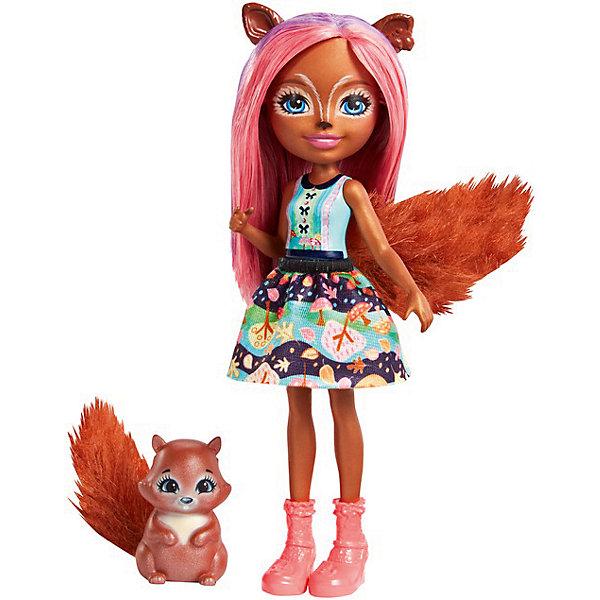 Mattel Мини-кукла Enchantimals Любимая зверюшка Санча Сквирелл и Стампер