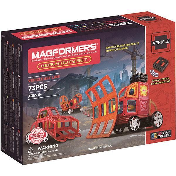 Магнитный конструктор Magformers Heavy Duty SetМагнитные конструкторы<br>Характеристики:<br><br>• возраст: от 3 лет;<br>• материал: пластик, магнит;<br>• в наборе: 73 элемента конструктора;<br>• вес упаковки: 2,2 кг.;<br>• размер упаковки: 45х9,5х32 см;<br>• страна бренда: Корея.<br><br>Магнитный конструктор Magformers Heavy Duty Set – набор для бесконечных экспериментов в строительстве тяжелой техники. С помощью деталей разных форм можно собрать самосвал, бетономешалку, погрузчик, комбайн и многие другие модели. Каждая из них имеет подвижные части, работающие автоматически. С помощью пульта дистанционного управления собранная техника поедет вперед или назад.<br><br>Конструктор Magformers – уникальная игра. Каждая деталь изготовлена из прочного эластичного пластика, который крайне трудно сломать. Внутри детали размещены мощные неодимовые магниты, они сами определяют полис и поворачиваются друг к другу нужной стороной – просто, быстро и надежно.<br><br>Игра с этим конструктором никогда не надоест. Занятия развивают логическое мышление, моторику рук, пространственное мышление, а также восприятие цветов и форм.<br><br>Магнитный конструктор Magformers 707007 (63139) Heavy Duty Set можно купить в нашем интернет-магазине.