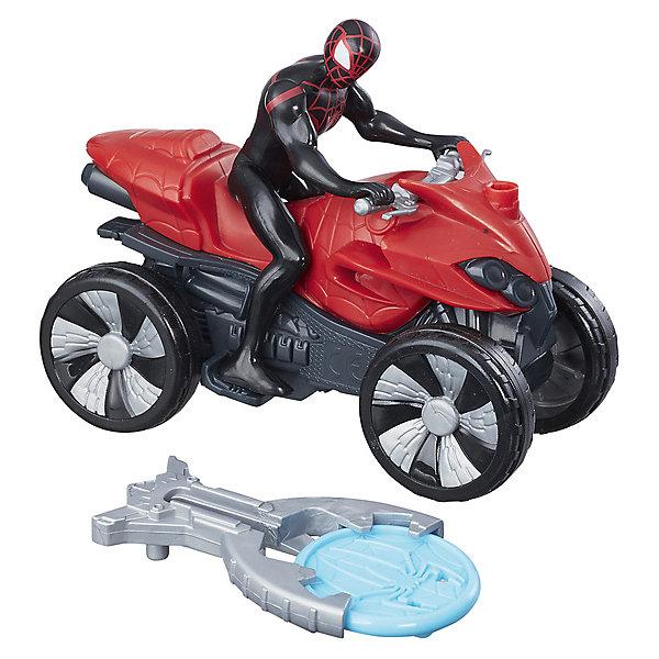 Фигурка с транспортным средством Marvel Spider-man Кид Арахнид на квадроциклеГерои комиксов<br>Характеристики:<br><br>• возраст: от 3 лет;<br>• материал: пластик;<br>• высота фигурки: 9,5 см;<br>• в наборе: фигурка, транспортное средство, устройство для метания диска, диск;<br>• размер упаковки: 14х6,4х21 см;<br>• страна бренда: США.<br><br>Транспортное средство из набора Hasbro Marvel Spider-man «Кид Арахнид на квадроцикле» дополняется особым устройством для запуска снаряда. Устройство крепится на передней части квадроцикла.<br><br>Фигурка Кида Арахнида выглядит в точности как персонаж из вселенной комиксов Marvel. На нем черно-красный костюм и маска с большими белыми глазами. Транспорт фигурки легко катится по поверхности за счет четырех колес. Дизайн квадроцикла напоминает настоящий, мелкие элементы проработаны, фигурка цепляется руками за ручки руля. Набор выполнен из прочных качественных материалов.<br><br>Фигурку с транспортным средством Marvel Spider-man «Кид Арахнид на квадроцикле» можно купить в нашем интернет-магазине.<br>Ширина мм: 212; Глубина мм: 140; Высота мм: 65; Вес г: 166; Возраст от месяцев: 36; Возраст до месяцев: 96; Пол: Мужской; Возраст: Детский; SKU: 8401645;
