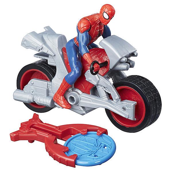 Фигурка с транспортным средством Marvel Spider-man Человек-паук на мотоциклеГерои комиксов<br>Характеристики:<br><br>• возраст: от 3 лет;<br>• материал: пластик;<br>• высота фигурки: 9,5 см;<br>• в наборе: фигурка, транспортное средство, устройство для метания диска, диск;<br>• размер упаковки: 14х6,4х21 см;<br>• страна бренда: США.<br><br>Транспортное средство из набора Hasbro Marvel Spider-man «Человек-паук на мотоцикле» дополняется особым устройством для запуска снаряда. Устройство крепится на боковой части мотоцикла.<br><br>Фигурка Человека-паука выглядит в точности как герой из вселенной комиксов Marvel. На нем красно-синий костюм и маска с большими белыми глазами. Транспорт фигурки легко катится по поверхности за счет широких колес. Дизайн мотоцикла напоминает настоящий, мелкие элементы проработаны, фигурка цепляется руками за ручки руля. Набор выполнен из прочных качественных материалов.<br><br>Фигурку с транспортным средством Marvel Spider-man «Человек-паук на мотоцикле» можно купить в нашем интернет-магазине.<br>Ширина мм: 212; Глубина мм: 140; Высота мм: 65; Вес г: 166; Возраст от месяцев: 36; Возраст до месяцев: 96; Пол: Мужской; Возраст: Детский; SKU: 8401647;