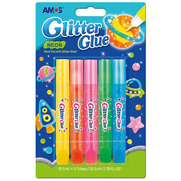Клей для оформления Amos Неоновый 5 цветов по 10,5 млНаборы для декора<br>Характеристики товара:<br><br>• возраст: от 3 лет;<br>• цвет: желтый, оранжевый, розовый, зеленый, голубой;<br>• из чего сделана игрушка (состав): клеевая основа, краситель, флуоресцентный компонент;<br>• количество цветов: 5 шт.;<br>• объем тюбика: 10,5 мл.;<br>• размер упаковки: 11,9х1,5х19 см.;<br>• вес: 100 гр.;<br>• упаковка: блистер на картоне.<br><br>Оформительский клей с блестками отлично подойдет для декорирования поделок, выполненных из различных материалов.<br><br>Он прекрасно ложится на бумагу и картон и быстро сохнет, так же, как и на дерево, массу для лепки. Мягкая упаковка очень удобна в использовании, достаточно легко надавить на нее и распределить необходимое количества клея по поверхности.<br><br>Кроме того, клей светится в темноте, благодаря чему вы с вашим ребенком сможете придумать элементы для декорирования интерьера.<br><br>Клей оформительский «Неоновый» можно купить в нашем интернет-магазине.<br>Ширина мм: 119; Глубина мм: 15; Высота мм: 190; Вес г: 100; Цвет: светло-зеленый; Возраст от месяцев: 36; Возраст до месяцев: 2147483647; Пол: Унисекс; Возраст: Детский; SKU: 8401973;