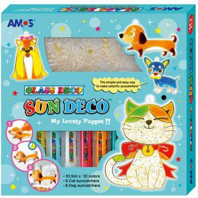 Набор витражных красок Amos  Собаки и кошки , 10 цветов по 10,5 мл, артикул:8401981 - Рисование и раскрашивание