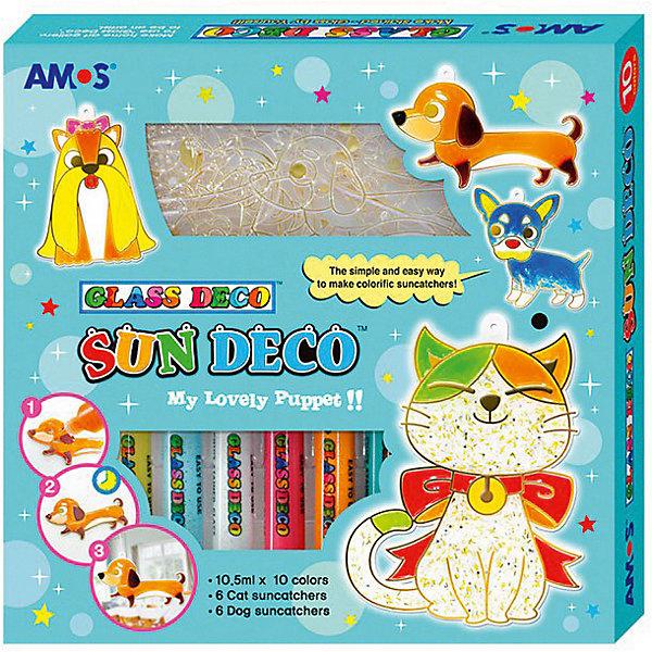 Набор витражных красок Amos Собаки и кошки, 10 цветов по 10,5 млКраски и кисточки<br>Характеристики товара:<br><br>• возраст: от 3 лет;<br>• комплект: 12 витражей, краски, конфетти, блески;<br>• из чего сделана игрушка (состав): пластик, краска;<br>• размер упаковки: 21x3,7x21,7 см.;<br>• вес: 458 гр.;<br>• объем 1 тюбика: 10,5 мл.;<br>• количество цветов: 10 шт.;<br>• упаковка: картонная коробка.<br><br>Набор «Собаки и кошки» от бренда Amos включает в себя двенадцать готовых витражей с изображением очаровательных щенков и котят. С помощью специальных красок малыш сможет самостоятельно раскрасить изображения. В комплекте можно найти десять флакончиков с красками разного цвета, поэтому ребенок сможет раскрасить милых домашних зверят по своему вкусу. <br><br>Набор витражных красок с витражами «Собаки и кошки» можно купить в нашем интернет-магазине.<br>Ширина мм: 210; Глубина мм: 37; Высота мм: 217; Вес г: 458; Цвет: голубой; Возраст от месяцев: 36; Возраст до месяцев: 2147483647; Пол: Унисекс; Возраст: Детский; SKU: 8401981;