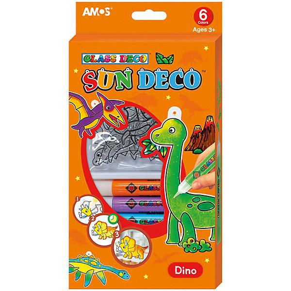 Amos Набор витражных красок Динозавры, 6 цветов по 10,5 мл