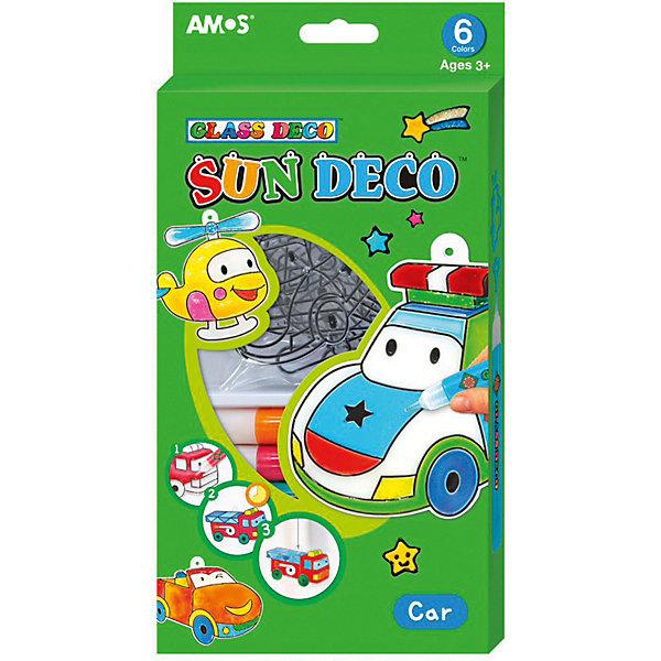 """Amos Набор витражных красок Amos """"Машинки"""", 6 цветов по 10,5 мл"""