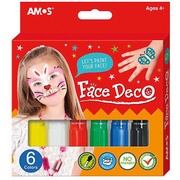 Мелки-грим Amos, 6 цветовКарнавальный грим<br>Характеристики товара:<br><br>• возраст: от 3 лет;<br>• комплект: 6 мелков;<br>• цвета: желтый, зеленый, красный, синий, белый, черный;<br>• состав: мел, красители;<br>• размер упаковки: 14,7x2,4x16,1 см.;<br>• вес: 135 гр.;<br>• упаковка: картонная коробка с европодвесом.<br><br>Замечательный набор мелков для лица представлен 6 цветами, благодаря которым ребёнок сможет создать себе необычный грим.<br><br>Мелки содержат косметические пигменты, пригодные для контакта с кожей ребёнка и не приносят неприятных ощущений. Стойкий грим не размазывается и стирается долгое время, по окончании игры удаляется полностью влажными детскими салфетками или умыванием с мылом.<br><br>Увлекательное занятие разбудит фантазию воображение ребёнка, потренирует художественные навыки, сделает любой праздник более загадочным и неповторимым.<br><br>Мелки-гримм можно купить в нашем интернет-магазине.