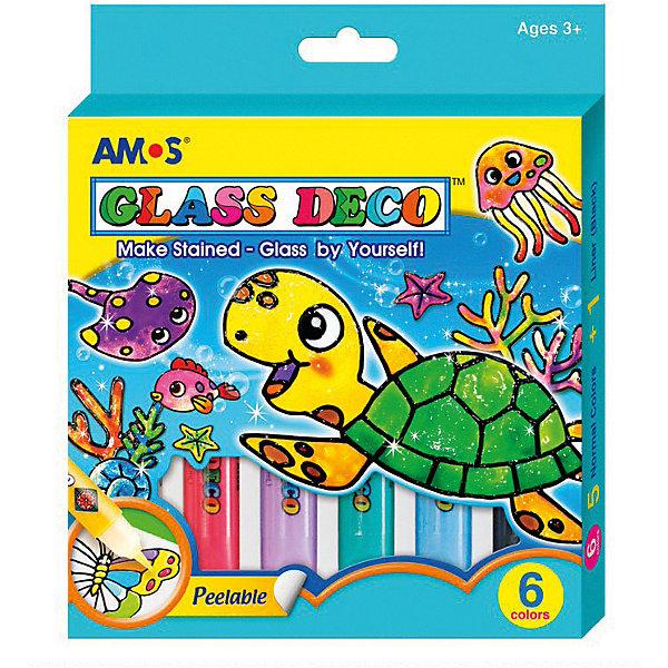 Набор витражных красок Amos Морской конёк, 5 цветов по 10,5 млКраски и кисточки<br>Характеристики товара:<br><br>• возраст: от 3 лет;<br>• из чего сделана игрушка (состав): краски, винил, клей, пластик;<br>• комплект: 6 цветов по 10,5 мл., трафареты, виниловые листы, инструкция;<br>• размер упаковки: 14,1х1,6х17,4 см.;<br>• вес: 159 гр.;<br>• упаковка: картонная коробка.<br><br>Набор витражных красок это современное увлечение как для детей, так и для взрослых. <br><br>Морской конек - один из самых забавных обитателей морского дна. Краски подходят не только для раскрашивания трафаретов, с их помощью можно также создать многоразовые наклейки.<br><br>Этими красками можно нанести узор на зеркало, рамку для фотографий, холодильник, чашку и любой другой предмет, который покажется скучным ребенку. Кроме того, из витражных красок можно создать объемные цветы и другие 3D фигурки.<br><br>Набор витражных красок «Морской конек» можно купить в нашем интернет-магазине.<br>Ширина мм: 141; Глубина мм: 16; Высота мм: 174; Вес г: 159; Цвет: голубой; Возраст от месяцев: 36; Возраст до месяцев: 2147483647; Пол: Унисекс; Возраст: Детский; SKU: 8402027;