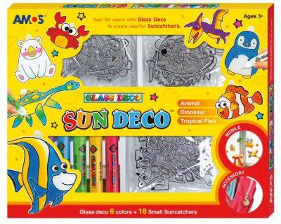 Набор витражных красок Amos  Мини-витражи , 6 цветов по 10,5 мл, артикул:8402039 - Рисование и раскрашивание