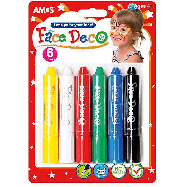 Мелки-грим Amos Декор, 6 цветовКарнавальный грим<br>Характеристики товара:<br><br>• возраст: от 3 лет;<br>• комплект: 6 мелков;<br>• цвета: желтый, белый, красный, зеленый, синий, черный;<br>• состав: пластик, косметические компоненты;<br>• размер упаковки: 14x2x20 см.;<br>• вес: 140 гр.;<br>• упаковка: блистер.<br><br>Мелки, предназначенные для грима, нетоксичны и совершенно безопасны для нанесения на нежную детскую кожу. Мелки незаменимы при проведении карнавалов и детских вечеринок, и кроме того, подойдут они и для будничной семейной забавы, когда все домочадцы по очереди раскрашивают друг другу лица. <br><br>Смывается грим водой с детским мылом или любым другим мягким косметическим средством, подходящим для нежной кожи.<br><br>Мелки-гримм-декор можно купить в нашем интернет-магазине.