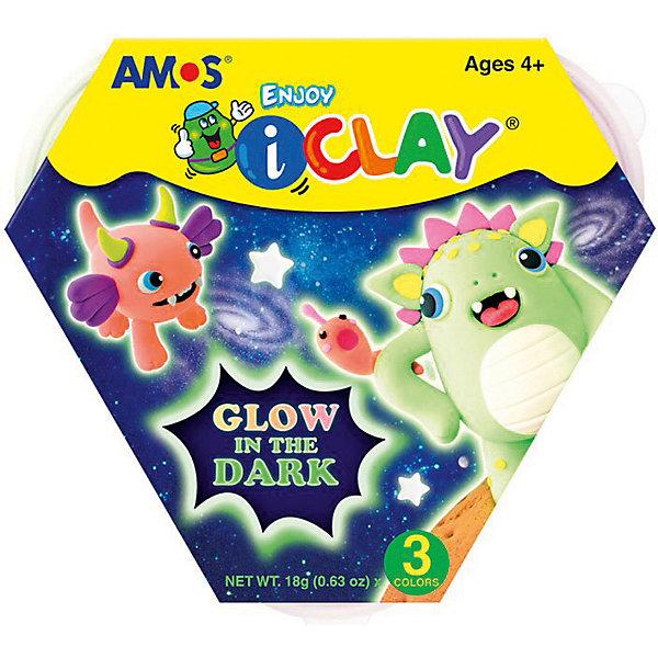 Amos МАССА iClay для лепки светящаяся в темноте 3 цв. по 18 гр.