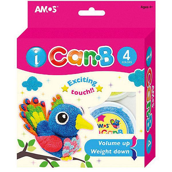 Amos Шариковый пластилин Попугай, 4 цвета