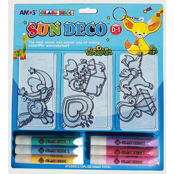 Набор витражных красок Amos Витражи 2, 6 цветов по 10,5 млКраски и кисточки<br>Характеристики товара:<br><br>• возраст: от 3 лет;<br>• комплект: 6 витражей, 2 фломастера черного цвета, 6 разноцветных фломастеров;<br>• из чего сделана игрушка (состав): пластик;<br>• размер упаковки: 26,7x1,5x29,1 см.;<br>• вес: 225 гр.;<br>• объем 1 тюбика: 10,5 мл.;<br>• количество цветов: 6 шт.;<br>• упаковка: картонная коробка.<br><br>Набор для создания витражей станет прекрасным подарком для юного художника. <br><br>Он позволит крохе раскрыть свой творческий потенциал и научиться потрясающей технике витражной живописи. Входящими в набор разноцветными красками можно рисовать на стекле или плитке.Также в комплекте ребенок найдет 6 заготовок с уже нанесенными на них рисунками.<br><br>Набор производится с соблюдением всех стандартов качества и безопасности, благодаря чему абсолютно безопасен для малышей от трех лет. Процесс рисования поможет ребенку развить аккуратность, моторику, цветовое восприятие, воображение. <br><br>Набор витражных красок с витражами «Витражи 2» можно купить в нашем интернет-магазине.<br>Ширина мм: 267; Глубина мм: 15; Высота мм: 291; Вес г: 225; Цвет: голубой; Возраст от месяцев: 36; Возраст до месяцев: 2147483647; Пол: Унисекс; Возраст: Детский; SKU: 8402065;