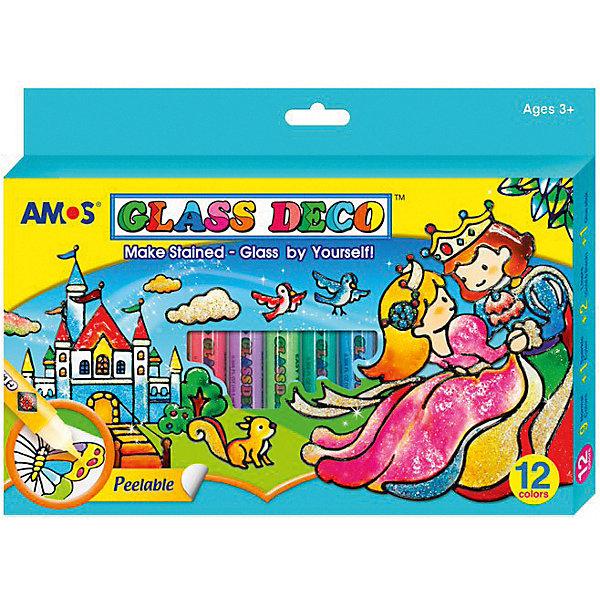 Набор витражных красок Amos, 12 цветов по 10,5 млКраски и кисточки<br>Характеристики товара:<br><br>• возраст: от 3 лет;<br>• из чего сделана игрушка (состав): краски, винил, клей, пластик;<br>• комплект: 10 цветов по 10,5 мл., черный и золотой контуры по 10,5 мл., 3 виниловых листа, 8 трафаретов для аппликаций, клей-карандаш (8 гр.), инструкция;<br>• размер упаковки: 24,2х2х17,4 см.;<br>• вес: 346 гр.;<br>• упаковка: картонная коробка открытого типа.<br><br>Набор витражных красок необходим для создания красивых украшений  интерьера. Пользуясь трафаретами из набора, ребенок легко изготовит замечательные поделки, даже если не умеет рисовать.<br><br>Нужно приложить виниловую пленку к трафарету с рисунком и обвести контур специальной краской. Примерно через час контур подсохнет, и можно будет приступить к раскрашиванию. <br>После того, как рисунок высохнет, его можно отлепить от виниловой основы и перенести на любую гладкую поверхность.  Украшайте окна, зеркала, кафель и дарите близким свои замечательные творения. <br>Приблизительное время полного высыхания витража 12 часов.<br><br>Набор витражных красок можно купить в нашем интернет-магазине.<br>Ширина мм: 242; Глубина мм: 20; Высота мм: 174; Вес г: 346; Цвет: голубой; Возраст от месяцев: 36; Возраст до месяцев: 2147483647; Пол: Унисекс; Возраст: Детский; SKU: 8402067;
