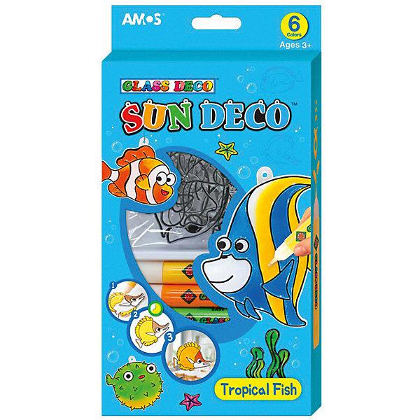 Amos Набор витражных красок Тропические рыбки, 6 цветов по 10,5 мл